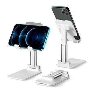 Cell Phone Stand for Desk, TRISCO Foldable Phone Stand Angle Height Adjustable Phone Holder with Stable Anti-Slip Dock Compatible with iPhone 12/12 Pro/iPad/Android/Smartphones(White)