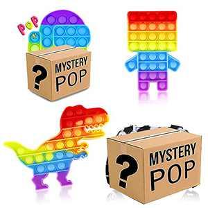 4 Pack Rainbow Fidget Toy Pack Popitz ,Kids Adhd Anxiety Toya Game , Pop Autism Sensory Stress Box, Teen Bulk Figetget Satisfying Set in Them,Figut Kit Stuff, Gift Learning Dinosaur Controller Gamepad