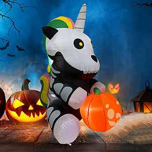 LAUJOY 5 FT Halloween Inflatable Sitting Skeleton Unicorn Inflatable Yard Decoration with Build-in LEDs Blow Up Inflatables for Halloween Party Indoor, Outdoor, Yard, Garden, Lawn Decorations