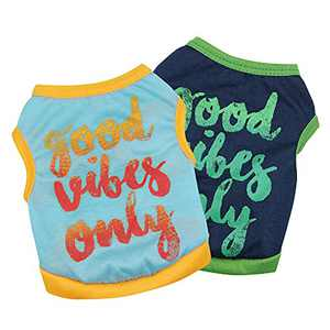 COUTUDI Pack of 2 pcs Dog Vest for Small Dogs Good Vibes Only Word Print Dog Shirt Cat Shirt Summer Cooling Breathable Puppy Shirt Soft Puppy Vest (X-Small)