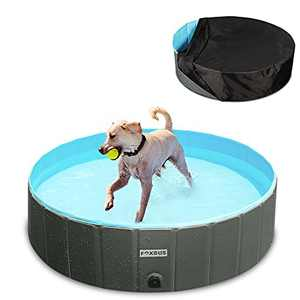 """Foldable Dog Pool - Portable Hard Plastic Kiddie Pool with Pool Cover and Hose Adapter, PVC Collapsible Pet Bathing Tub, Non-Slip Outdoor Swimming Pool for Large Small Dog Puppy Cats, Kids, 48"""" x 12"""""""