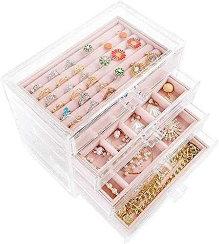 Acrylic Jewelry Box with 4 Drawers,ProttyLife Large Acrylic Jewelry Box for Women Clear Jewelry Organizer Velvet Earring Box for Earring Necklace Ring & Bracelet, Clear Jewelry Display Storage Case (Beige)