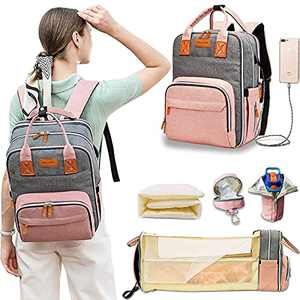 Diaper Bag Backpack, Baby Bag with Changing Station Travel Foldable Baby Bed, Mosquito Net, USB Charging Port, Waterproof Insulated Pockets, Pacifier Case Included, Multi-Functional Large Diaper Bags