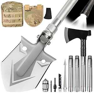 Survival Shovel Multitool with Axe-Unbreakable Folding Camping Shovel,High Carbon Stainless Steel,Military Multifunctional Gear with Tactical Pack for Backpacking,Hiking,Gardening and Car Emergency
