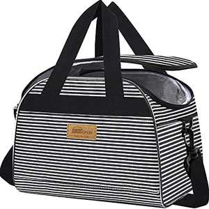 HOMESPON Insulated Lunch Bag Wide Open Design with Reusable Cooler Tote Box with Adjustable Shoulder Strap For Woman Man (Black and White Stripes)