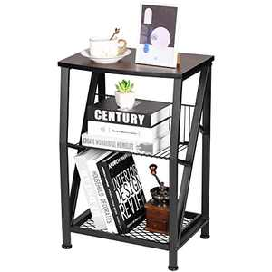 Ruboka 3-Tier End Tables, Side Table Nightstands with Steel Grid Storage Rack, Small Tables for Living Room, Bedroom, Study, Balcony, Brown Wooden Bedside Table -DESK50A