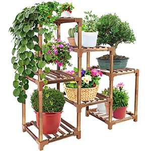 Upgraded Thicker Plant Stands for Indoor Plants - Max Load 250 LB, 7 Tier Tall Wood Plant Stand, Multiple Flower Pot Holder Garden Plant Shelf Rack for Home Corner Living Room, Easy to Assemble
