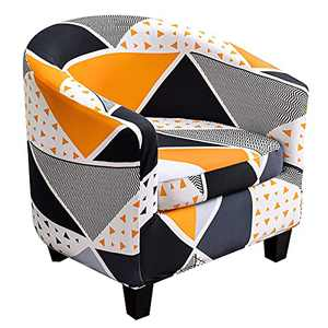 SearchI Stretch Club Chair Slipcover, Spandex Floral Pattern Tub Chair Slipcover Armchair Covers Furniture Protector Sofa Couch Covers with Elastic Bottom for Living Room(Triangle Color)