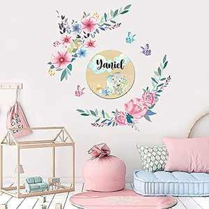 Supzone Flower Wall Decals Floral Butterfly Wall Sticker Colorful Leave Plants Wall Decor DIY Vinyl Mural Art for Bedroom Living Room Sofa Backdrop TV Wall Decoration