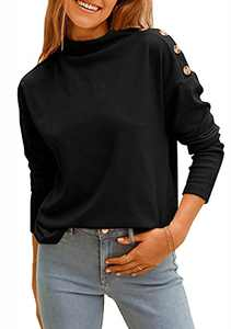 KIRUNDO Women's Casual Mock Neck Long Sleeves Sweatshirts Solid Color Lightweight Basic Pullover Tops with Butto (Black, Small)