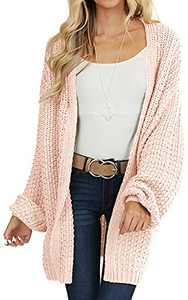 VTSGN Women's Long Lantern Sleeve Chunky Knit Sweater Open Front Cardigan Pockets Loose Outwear Pink Medium