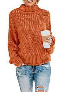 ZESICA Women's Fall Long Sleeve Turtleneck Casual Loose Chunky Knitted Pullover Sweater Jumper Tops,Orange,X-Large