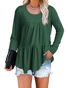 Quenteen Women's Crew Neck Forest Green Ruffle Hem T Shirt Long Sleeve Tunic Tops Hem Babydoll Peplum Tops