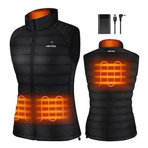 HEATOO Heated Vest for Women , Lightweight Heating Jackets with 10000mah Battery Pack Rechargeable, Water Wind Resistance Electric Vest for Skiing Ice Fishing Hunting