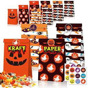 Halloween Treat Bags, Kraft Paper Pumpkin Candy Goodie Gift Bags, Trick or Treat Party Favor Goodie Bags with 18 Sealing Steakers for Kids Adults Halloween Party Supplies Decorations