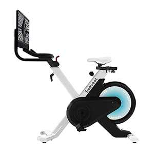 """Freebeat Stationary Bike, 180° Rotatable 21.5"""" Screen & Comfortable Seat Cushion, 35 Adjustable Resistance Spin Bike, Space-Saving Indoor Cycling Bike for Home Gym, Built-In App, Flywheel Smooth Quiet"""