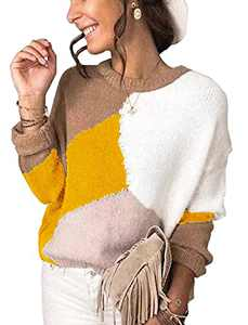 KIRUNDO Women's Sweaters Crew Neck Casual Long Sleeve Sweater Zebra Print Color Block Knit Pullover Sweater Tops(Patchwork-Yellow, X-Large)