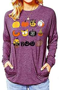 Women Halloween Pumpkin Sweatshirt Long Sleeve Novelty Graphic Shirt Costumes Holiday Party Pullover Sweatshirts Purple XXLarge