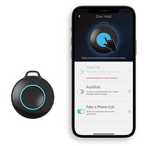 POM Safe Personal Protection Device – Talk with Dispatch in Seconds, Precise Location & Profile Info, Trigger Calls and Messages to Your Phone and Alert Contacts with Discreet Self Protection - Black