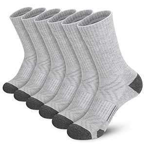 Athletic Socks, Cushioned Running Socks Performance Breathable Crew Socks Wicking Outdoor Sports Socks for Men Women(6 Pairs)