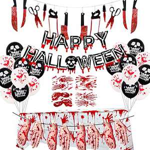 Scary Halloween Decorations, Indoor Halloween Party Decor HAPPY HALLOWEEN Banner Bloody Weapons Hands Feet Garland Banner Bloody Tablecloth Balloons for Halloween Horror Zombie Vampire Haunted House