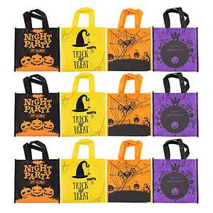 Cptots 12 pack Non-Woven Halloween Tote Gift Bags, Trick or Treat Bags, Reusable Candy Bags Goodie Bag for Halloween Party Supplies Tote Bags Kids Toys Organizer Bags