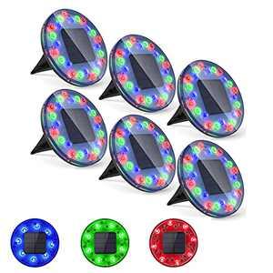 Solar Ground Lights Outdoor Waterproof, 24 LEDs Solar Disk Lights, Garden Lights for Driveway, Yard, Deck, Patio, Walkway, RGB Color, 6 Pack