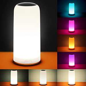 LED Table Lamp, Lelife Bedside Lamp, Nightlight Nightstand Lamps for Bedrooms with Dimmable Whites, Vibrant RGB Colors and Memory Function, No Flicker
