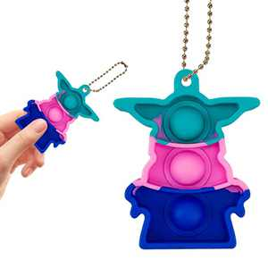 Rirusno Baby Yoda Mini Popping it - Simple Dimple Push it Pop Bubble Fidget Toy, Sensory Stress Relief Anti-Anxiety Autism Therapy Hand Key Chain Gift for Kids Teen Adult in Home Office School