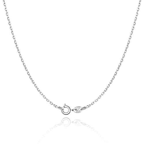 Jewlpire 925 Sterling Silver Chain Necklace for Women & Girls 1.3mm Cable Chain Italian Thin Silver Necklace Chain Perfect Replacement Chain Necklace - Super Sturdy & Shiny & 16 Inch
