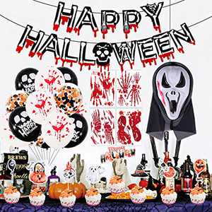 Halloween Decorations - Halloween Theme Party Decorations Kit Happy Halloween Banner Party Suppliers Confetti Latex Balloons Orange Black with Cupcake Toppers Bloody Window Clings Mask Indoor Outdoor