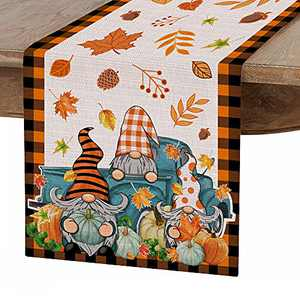 Hexagram Happy Fall Table Runner,Pumpkin Gnome Fall Harvest Tablecloth Kitchen Dining Table Linen for Indoor Outdoor Home Party Decor,Farmhouse Thanksgiving Table Christmas Decoration 13 X 72 Inch