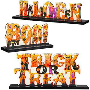 Jetec 3 Pieces Halloween Table Top Decoration Boo Table Centerpieces Sign Wooden Trick or Treat Table Topper Table Sign Wood Halloween Tier Tray Shelf Decor for Halloween Party Office Home