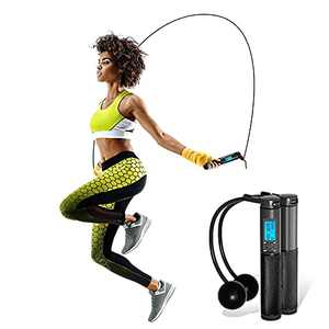 Semounva Digital Jump Rope with Counter Workout Jump Rope for Women Weighted Cordless Jump Rope for Fitness Skipping Rope for Kids Men with Heavy Handles, Adjustable Length
