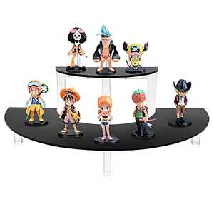 Masqudo Acrylic Riser Display Shelf 2 Tier Display Riser for Amiibo Funko POP Figursers Acrylic Riser Stand for Display Cupcake Stand Half Moon Dessert Stand for Display or Collections