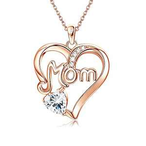 MUSECLOUD 925 Sterling Silver Mom Necklace Birthstone Jewelry Love Heart Pendant Mothers Necklace for Women Mama Aunt Grandma Mothers Day Birthday Christmas Gifts (Rose Gold-04-Clear CZ)