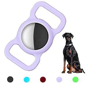 YODITI Airtag Case, Silicone Protective Case Compatible for Air Tag GPS Tracker, Airtag Dog Collar Holder - Fit for Pet Loop, Apply to Children Elderly Bags Backpack (Purple 1Pack)