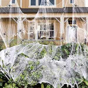 Pcavin 1000 sqft Spider Webs Halloween Decorations with 60 Fake Spiders, Super Stretch Cobwebs for Halloween Decor Indoor and Outdoor, Party Supplies & Bar Haunted House