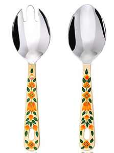 Hand Painted Serving Spoon and Fork – Large Stainless Steel Salad Servers. Floral Colorful Kashmiri Art - Practical Decorative and Durable, Set of 2 with 10 Inch Handles in Cotton Bag (Cream)
