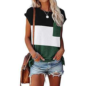 Ownow Womens Cap Sleeve T Shirts Summer Loose Fit Triple Color Block Shirt Casual Round Neck Stripe Tops with Pocket