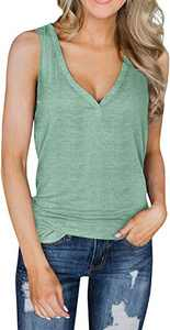 Aujelly Womens V Neck Tank Tops Cotton Causal Sleeveless Tunic Tops Summer Henley Shirts Blouse