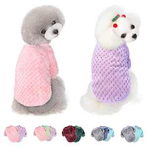 Dog Sweater for Small Medium Large Dog or Cat, Warm Soft Flannel Pet Clothes for Puppy, Small Dogs Girl or Boy, Dog Sweaters Vest Shirt Coat Jacket for Winter Christmas (Small, Pink+Purple)