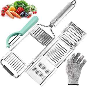 Vegetable Slicer Cheese Grater for Kitchen, Multi-Purpose Vegetable Cutter with Handle Chopper Adjustable Kitchen Tool for Lemon, Cheese, Vegetables, Fruits, Chocolate (Silver)