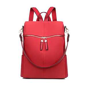 Backpack Purse for Women Faux Leather Bag Ladies Fashion Travel Satchel Handbag Large Capacity Womens Backpack (Nubuck Red)