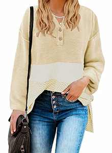 BLENCOT Women Deep V-Neck Henley Sweaters Buttons Down Long Sleeve Fashion Side Split Pullover Tops L B#62 Khaki