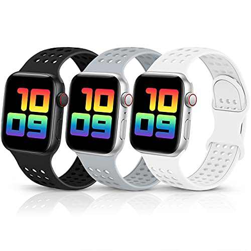 CISSDEN 3 Pack Sport Band Compatible for Apple Watch Bands 38mm 40mm 42mm 44mm,Breathable Soft Silicone Waterproof Strap Replacement Wristbands for iWatch Series 7 6 5 4 3 2 1 SE Women Men