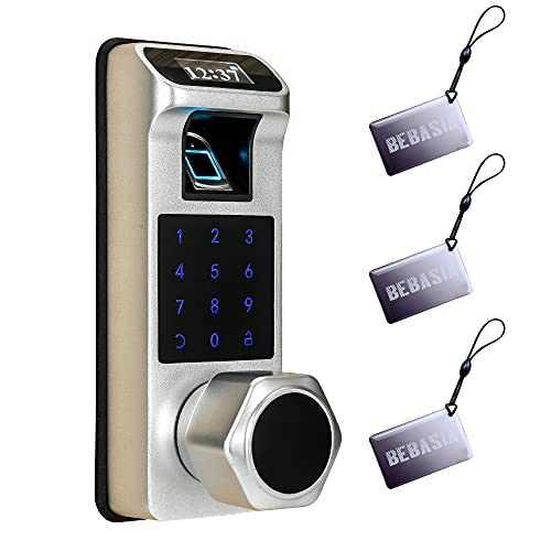 BEBASIA Fingerprint Electronic Door Lock with Keypad, Keyless Entry Door Lock, Smart Lock, Biometric Door Lock, Keypad Entry Door Lock, Passcode Code Lock, Digital Smart Lock (Silver)