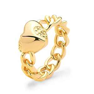 GDCOIN Gold Ring for Women Love Heart Stacking Rings丨14k Gold Plated Link Chain Rings丨Promise Band Ring Hypoallergenic丨Size 8