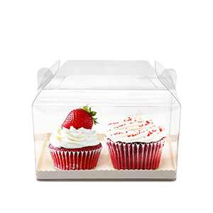 """PAKIPER 30 Pcs Clear Cake Boxes Bakery Boxes with Handle Transparent Plastic Favor Boxes with Cardboard,Candy Cookies Cupcakes Boxes for Wedding,Birthday Party,Christmas,Halloween 7"""" x4"""" x 4"""""""