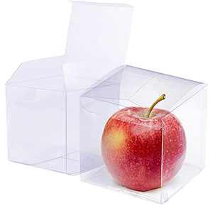 """PAKIPER 30 Pcs Clear Cake Box Gift Box Plastic Candy Treat Box transparent Gift Box Packaging for Macaron Cupcake Cookies,Wedding Party Christmas4""""x 4""""x 4"""""""